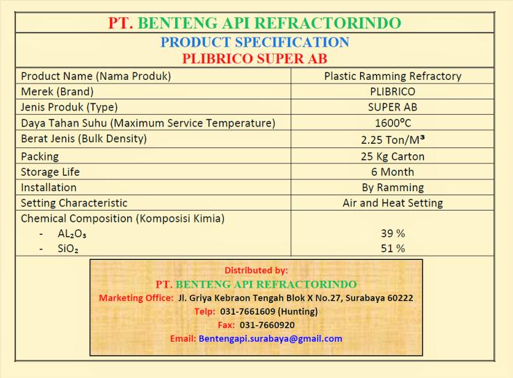 PLIBRICO SUPER AB-PLASTIC RAMMING SUPER AB