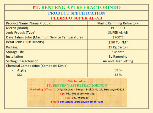 PLIBRICO SUPER ALAB-PLASTIC RAMMING SUPER ALAB