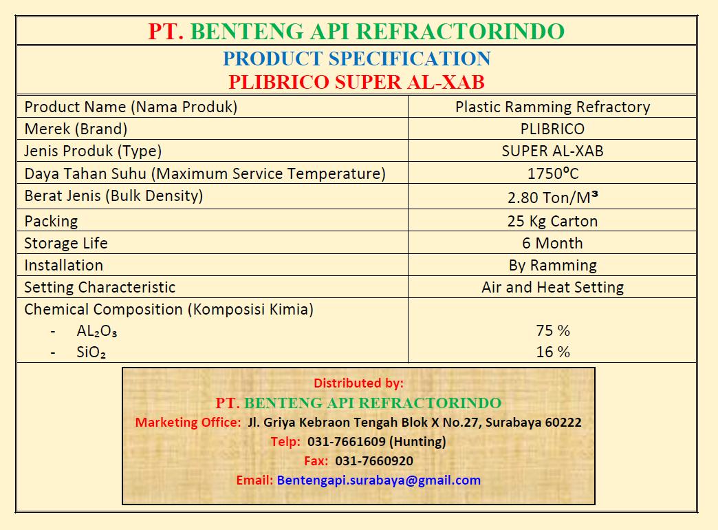 PLIBRICO SUPER AL XAB-PLASTIC RAMMING SUPER AL XAB